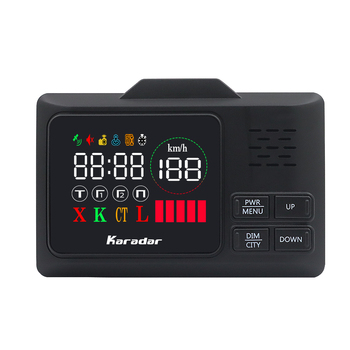 Karadar Car GPS anti radar detector  2 in 1 Police Speed GPS for Russian LED Display 360 Degree X K CT L with 2.4 inch display karadar 2018 led gps radar detector anti radar car radar detector strelka x k laser ct russian voice ublox 7 gps receiver