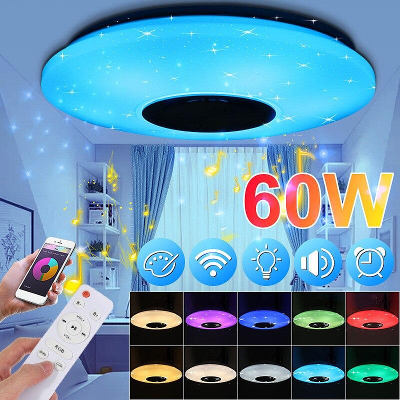 Rgb pode ser escurecido música lâmpada do teto controle remoto & app 24/48/60 w luzes de teto AC85-265V para casa bluetooth alto-falante lightingfixture