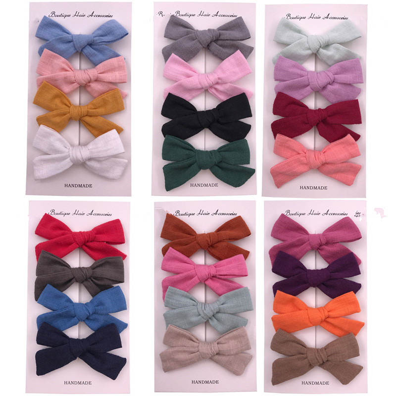 4pcs/Lot Cotton Bow Baby Hair Clips Set For Girls Baby Hairpins For Girls Toddler Pins Kids And Clips Barrettes Hair Accessories