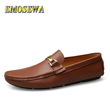 EMOSEWA Italian Mens Shoes Casual Brands Fashion Formal Luxury Shoes Men Loafers Moccasins Genuine Leather Brown Driving Shoes