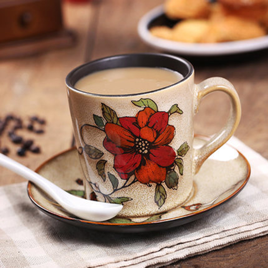 Elegant Vintage Coffee <font><b>Cup</b></font> Hand Painted Flower <font><b>Cup</b></font> Saucer China Tea Ceramic Vintage Beker Decoration Melody <font><b>Coffe</b></font> <font><b>Cup</b></font> ABD556 image