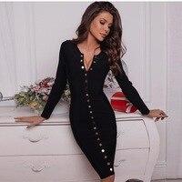 Round Neck Long Sleeve Button Winter Autumn Bandage Dress Women Bodycon Knee Length Evening Party Dress Black Vestidos платье