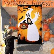 Halloween Bean Bag Toss Games With 3 Bean Bags Ghost Pumpkin Fun Carnival Party Game Adults Kids Camp Activities Set Props все цены