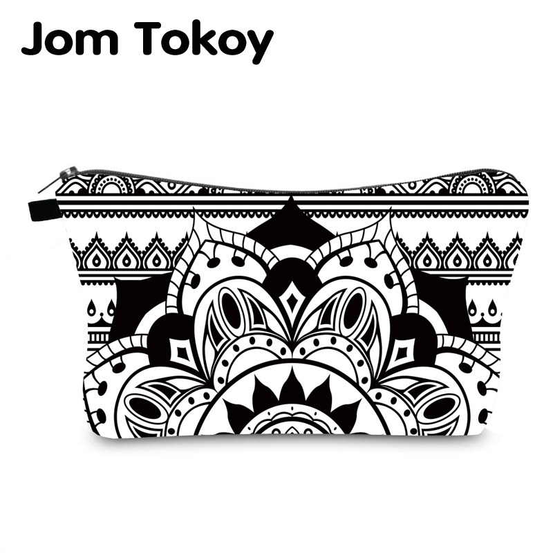 Jomtokoy New Women Mandala Printing Pattern Cosmetic Bag Handbag Female Zipper Purse Small Make Up Bags Travel Beauty Bag