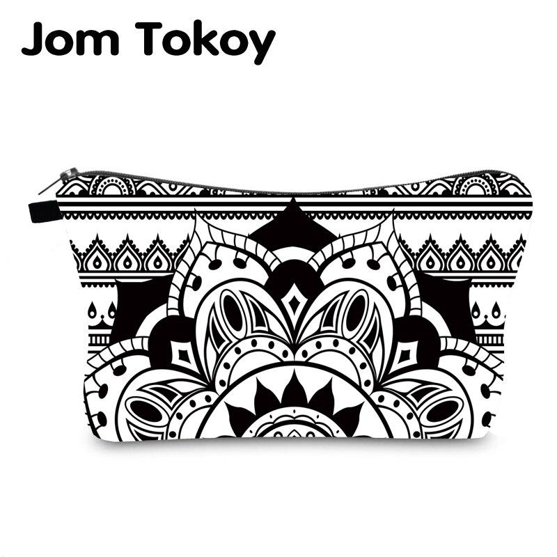 Jomtokoy New Women Mandala Printing Pattern Cosmetic Bag Handbag Female Zipper Purse Small Make Up Bags Travel Beauty Bag