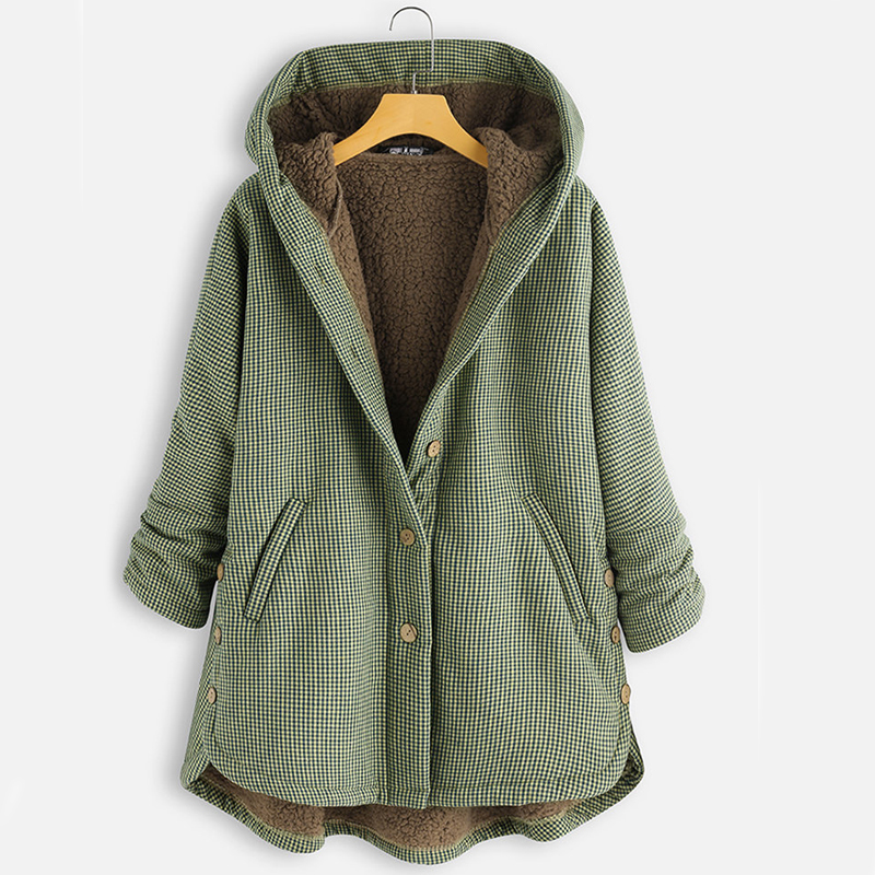 Winter Women Coats 2019 Fashion Vintage Plaid Long Sleeve Warm Thick Solid Outwear Button Hooded Outwearcoat Ladies