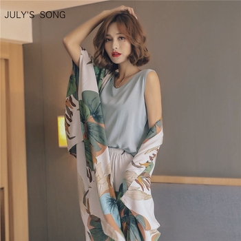 JULY'S SONG 4 Piece Spring Summer Women Pajamas Sets Floral Printed Viscose Robe Top and Shorts Female Sleepwear Night Suit 1