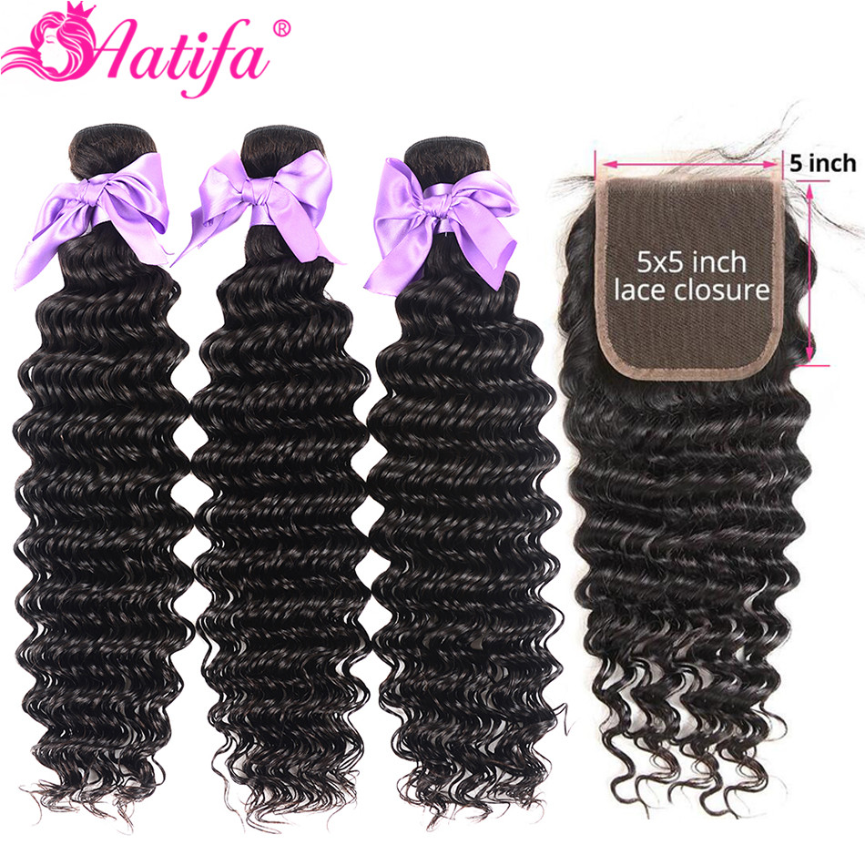 Brazilian Deep Wave Bundles With Closure 5x5 Closure With Bundles Remy 100% Human Hair 3 Bundles With Closure Aatifa Hair-in 3/4 Bundles with Closure from Hair Extensions & Wigs    1