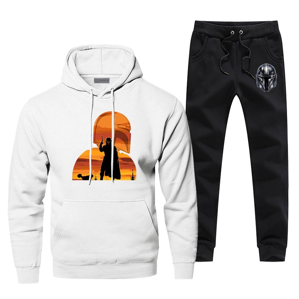 Star Wars The Mandalorian Tracksuit Men's Sportswear Starwars Fashion Cool Sets 2 Piece Sweatshirt + Sweatpants 2020 Spring Set