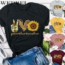 WEPBEL Women's Fashion Shirt Short Sleeve Summer Peace Love Sunshine Sunflower P