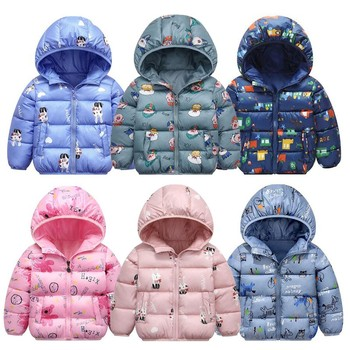 Boys Jackets Children Winter New Fashion Baby Girls Clothes Long Sleeve With Hooded Cartoon Wind Proof Zipper Coat For 2-6Y