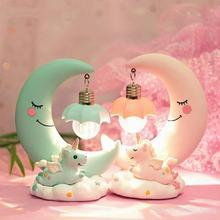 Lámpara LED de noche de unicornio con dibujos animados para niños, Luminaria de Noche de Luna, mesita de noche, regalo de cumpleaños, decoración del hogar, luces nocturnas para niños