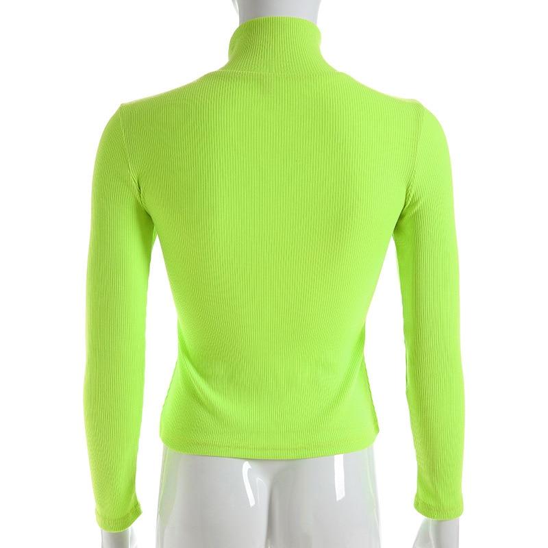 US $9.1 36% OFF Turtleneck Long Sleeve Bright Color Knitted Shirt Women Korean Streetwear Kawaii Solid Green Yellow Pink Top Vintage Tee
