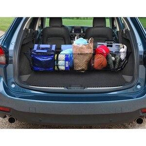 Image 3 - Автомобильный багажник, задний органайзер для груза, сетка для хранения, сетка держатель с 4 крючками, прочные аксессуары для стайлинга автомобиля, эластичный гамак