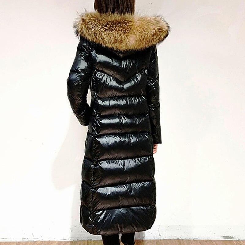 2020 White Duck   Down   Jacket Women big fur collar Thick Long Winter   Coat   Women Hooded oversize Female Puffer warm Jacket YRF67