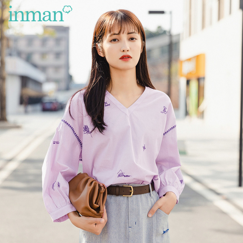 INMAN 2020 Summer New Arrival Pure Cotton Litarary Embroidered Loose Leisure Cute Blouse
