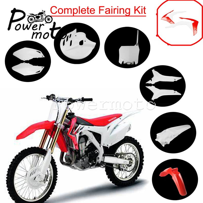 Motocross <font><b>Plastic</b></font> Fairing Kit Front Rear Mudguard Disc Brake Cover Side Panel Number Plate For Honda CRF250R CRF450R <font><b>CRF</b></font> 250 <font><b>450</b></font> image