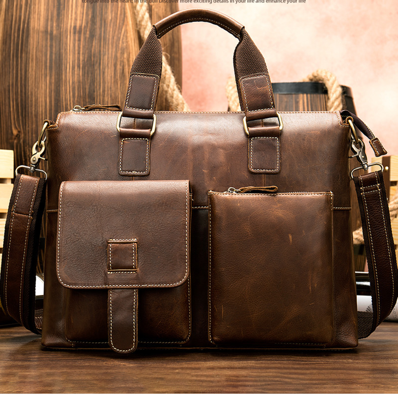 2019 Men's Briefcase/genuine Leather Bag Men Vintage Laptop/office Bags Men Briefcases Men's Bag Of Leather Computer Bags 260