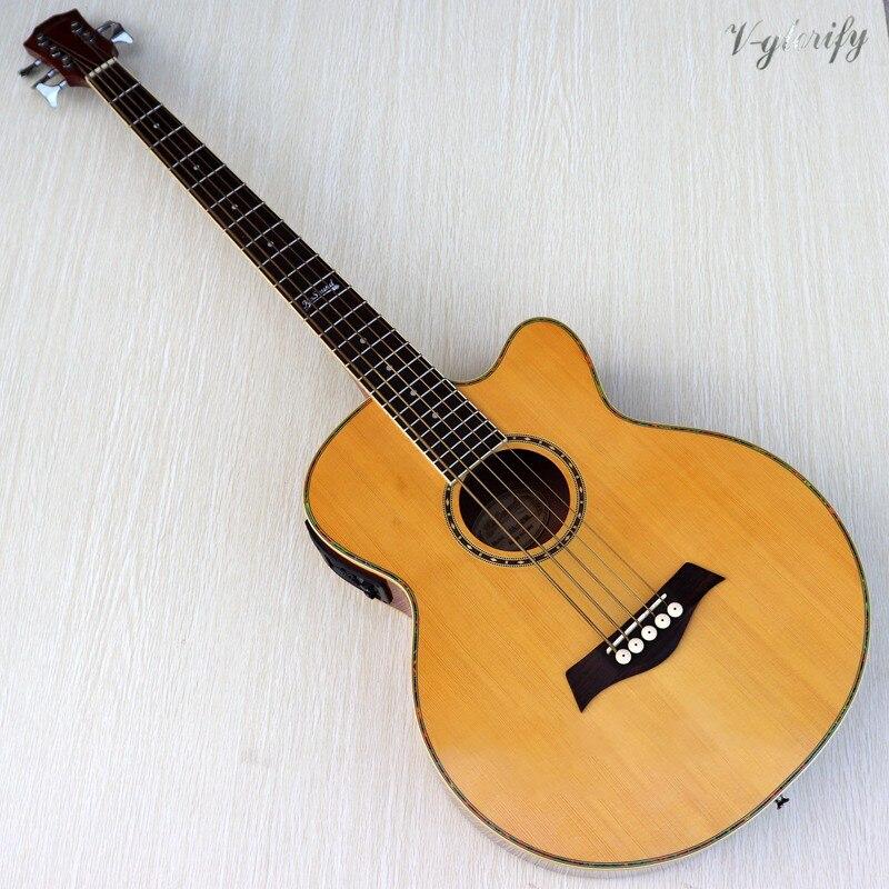 Guitare basse électrique acoustique de couleur naturelle de 5 cordes 43 pouces avec EQ avec fonction tuner guitarra livraison gratuite