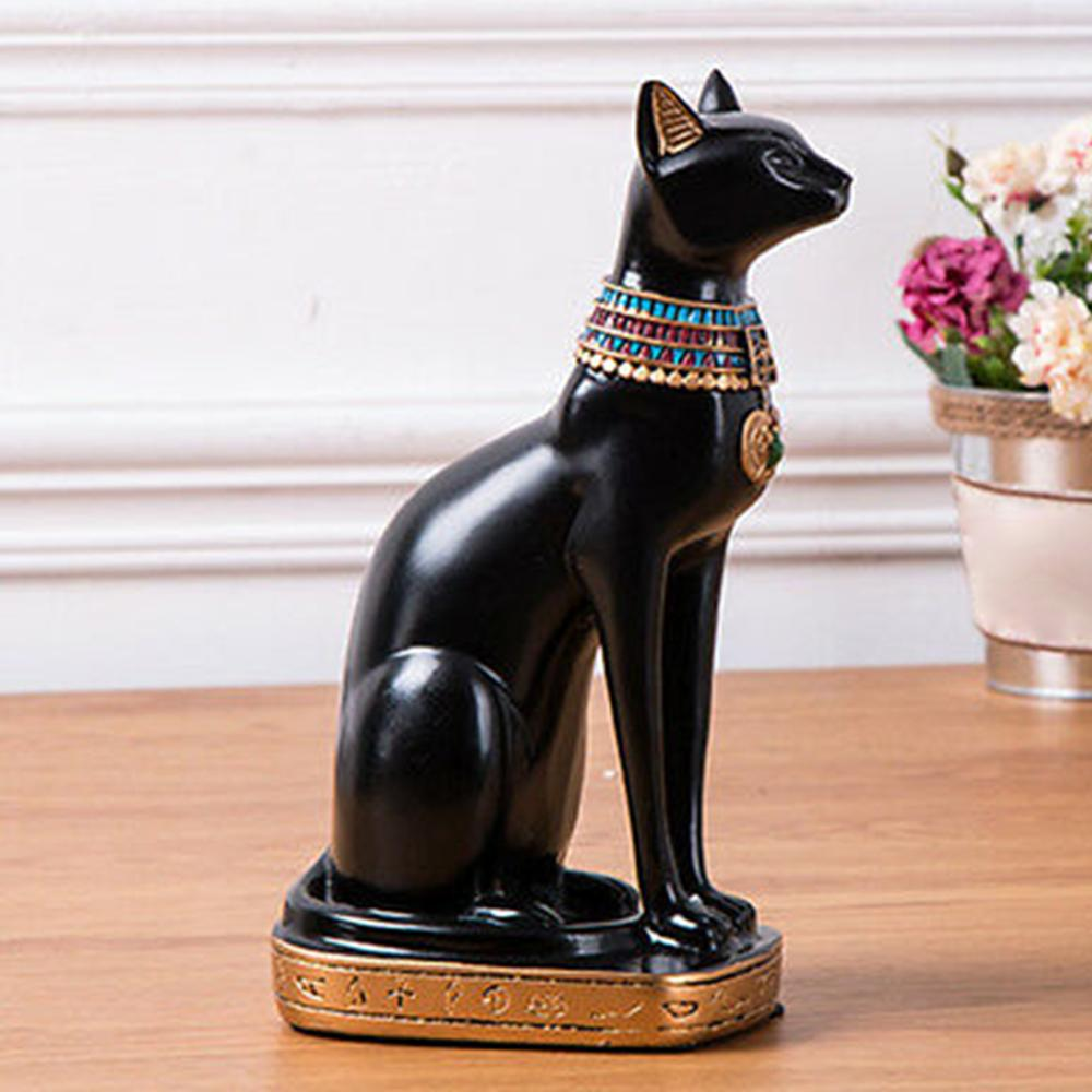 Resin Crafts Exotic Customs Figurine Statue Egyptian Cat Goddess Bastet Statue Home Decoration Gifts Home Vintage Ornaments