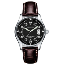 KINGNUOS Brand Fashion Casual Mens Wristwatch Auto Date Watch Waterproof Leather Strap Quartz Male Business Watches Genuine