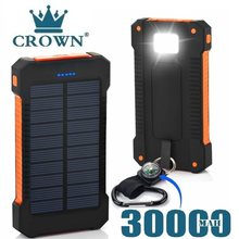 Para xiaomi smartphone com luz led banco de energia solar à prova dwaterproof água 30000mah carregador 2 portas usb carregador externo powerbank
