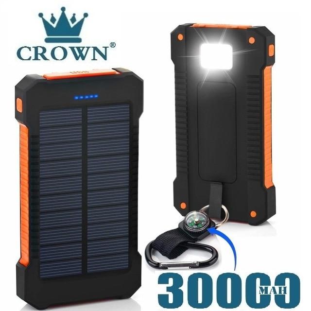Para xiaomi smartphone com luz led banco de energia solar à prova dwaterproof água 30000mah carregador 2 portas usb carregador externo powerbank Baterias Externas    -