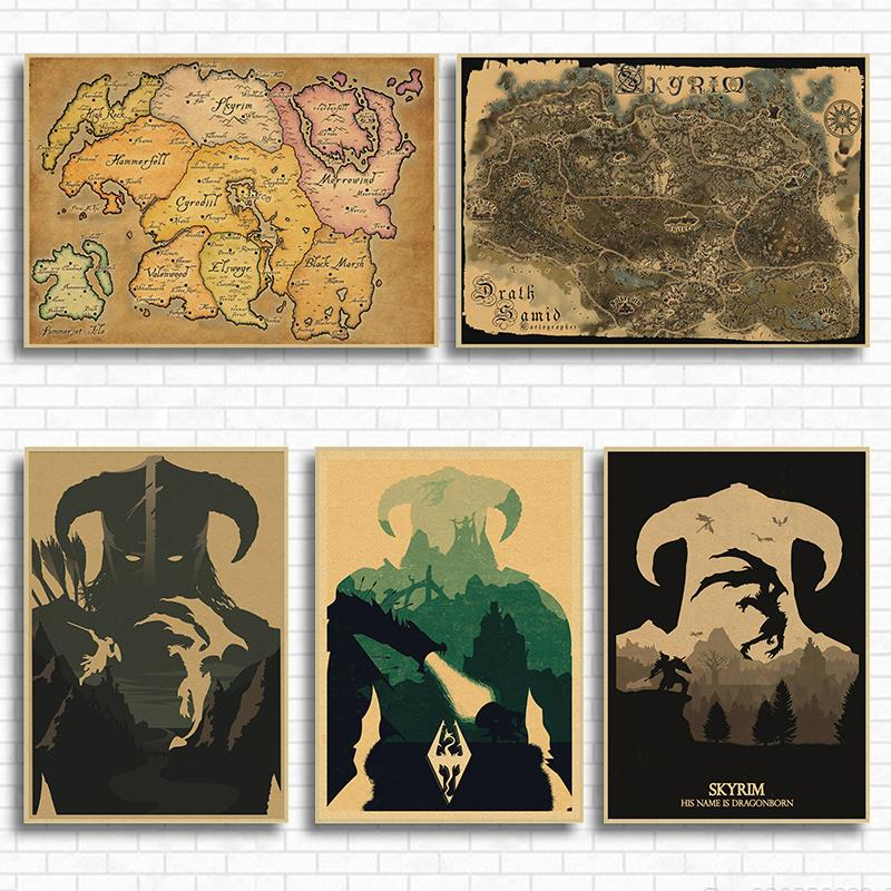 Scrolls V Skyrim Classic Game Kraft Paper Poster Wall Pictures For Living Room Vintage Decorative Wall Painting