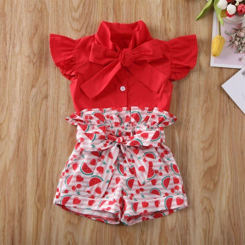 Floral Pants Summer 2Pcs Clothes Set Toddler Baby Girls Halter Short Outfit Set Ruffle Strap Top