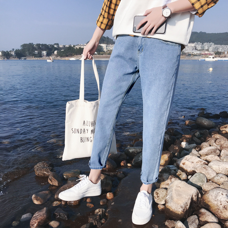 Spring Summer Thin Section Jeans Men's Hong Wave INS Straight-Cut Pendant Sense Wide-Leg Korean-style Trend Casual Capri Pants S