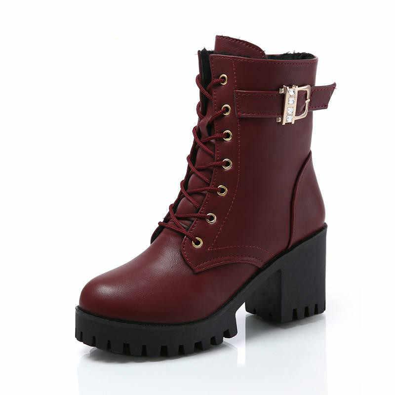 LZJ sıcak sonbahar moda kadın botları yüksek topuklu platformu toka dantel Up Zip PU deri kısa patik siyah bayan ayakkabıları platform