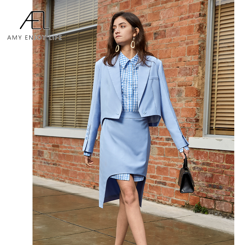 AEL Office Clothes Spring Women Skirt Suits Elegant Office Lady Blazer And Skirt Set Formal Wear Two Piece Skirt Set Uniform