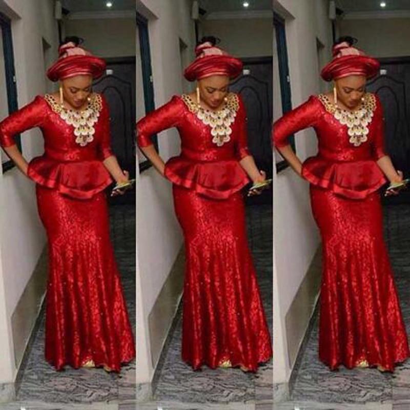 Dentelle rouge ruché volants nigéria robe de soirée Scoop NeckLong manches sirène robes de bal robe de bal africaine robe de soirée