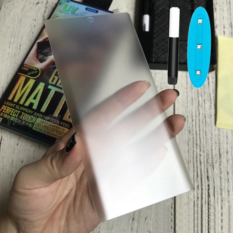 UV Liquid Full Glue Matte Tempered Glass For Samsung Galaxy S8 S9 S10 S20 Ultra Note 8 9 10 Plus Frosted Screen Protector