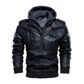 Winter Mens PU Leather Jackets Motorcycle Hooded Collar Big Pockets Vintage US Size Biker Faux Fleece Leather Jackets and Coats men s leather jackets large size 2020 autumn winter jackets coats single breasted fleece liner warm motorcycle biker jackets