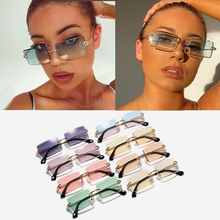 Wholesale Cutting Rimless Alloy Square Sunglasses For Women