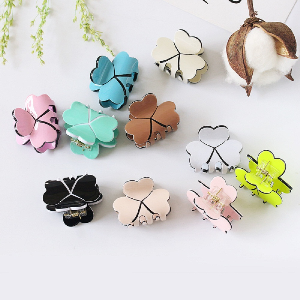 New  Acrylic Women Mini Four Leaf Clover Hairpins Colorful Hair Claws Clips Clamp Barrettes Hair Pins Styling Tools Accessories