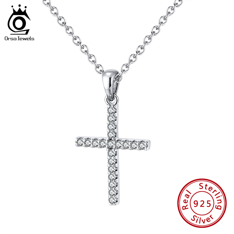ORSA JEWELS Cross Pendant Necklace Genuine 925 Silver Clear Top Zircon Pray Valentine's Day Exquisite Gift Fine Jewelry SN219