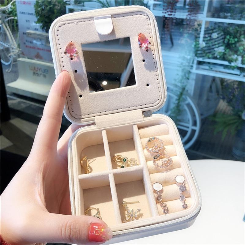 Ailodo Jewelry Organizer Display Travel Jewelry Case Portable Jewelry Box Zipper Leather Storage Joyeros Organizador De Joyas