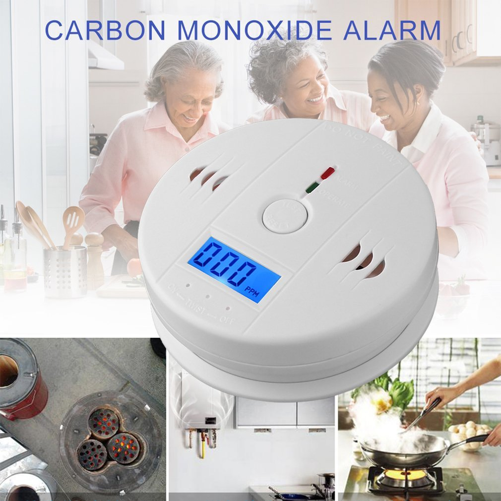 Home Gas CO Sensor Warning Alarm Detector LCD Displayer Carbon Monoxide Poisoning Smoke Analyzer Kitchen Bathroom Gas Analyzers