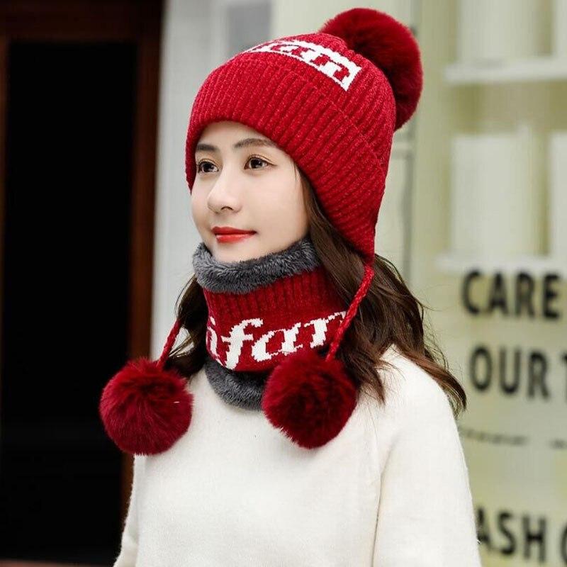 DeePom Winter Women Knitted Hat Scarf Female Warm Hat Scarf Set Fashion Velvet Thickening Hat Pompom Ball Snow Caps Piece Set