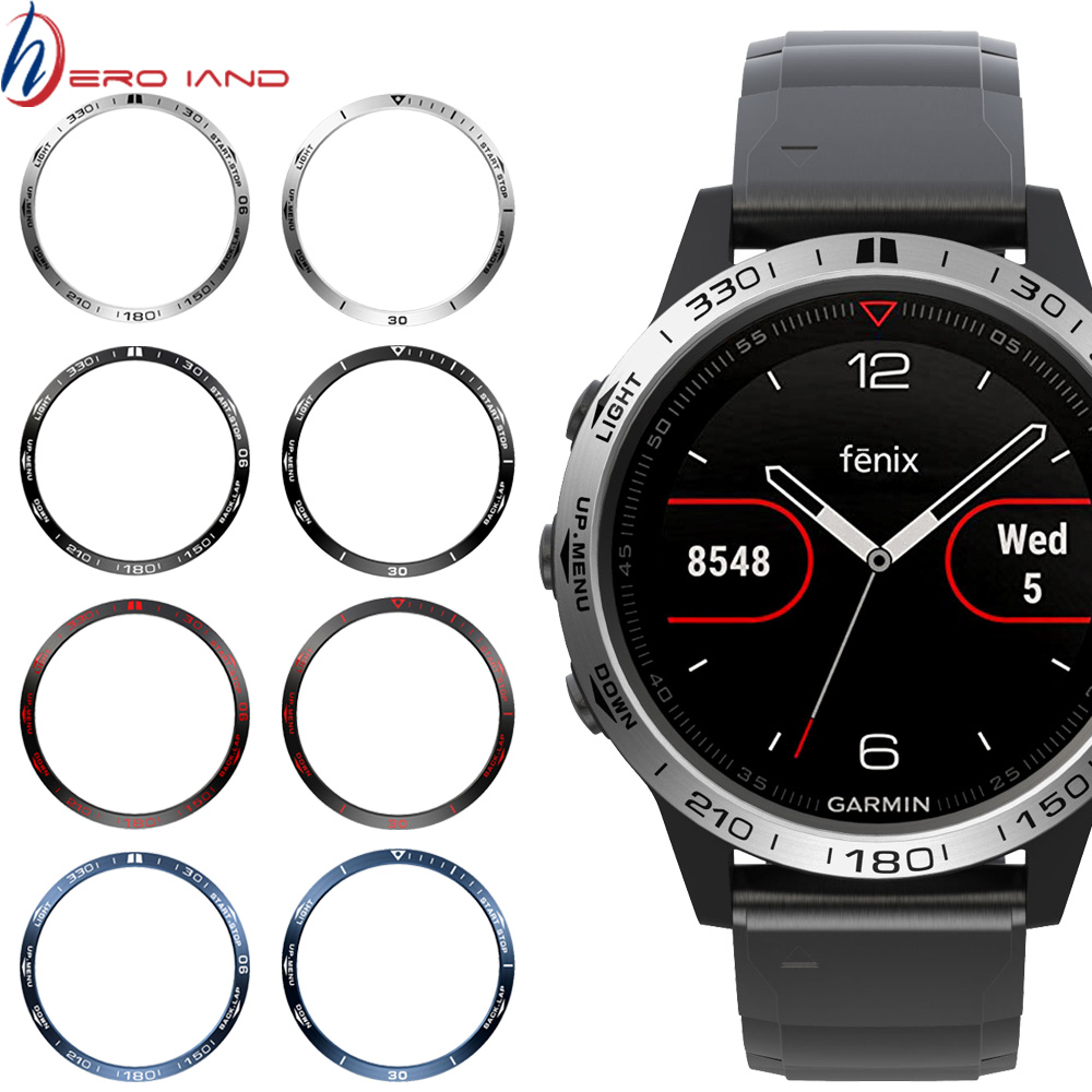 For Garmin Fenix 5 Watch Bezel Ring Stainless Steel Sculptured Time Units Adhesive Cover Anti-scratch Protection Ring
