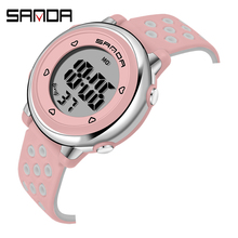 SANDA zegarek dla dzieci Sport Student zegarki dla dzieci chłopcy dziewczęta zegar prezent dziecko LED cyfrowy elektroniczny zegarek chłopiec dziewczyna zegarek tanie tanio 3Bar Żywica Klamra Hardlex 17cm Nie pakiet 34mm SANDA-2008 Plac 22mm 10mm Odporny na wstrząsy Wyświetlacz LED Luminous