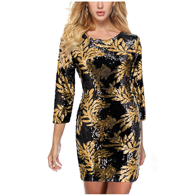 Fashion Round Neck Print Dress  Beach Sexy Short Dresses Long Sleeve Bodycon Office Dress European And American Party Dress 1