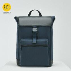 NINETYGO 90FUN Manhattan Urban Casual Backpack Men Bag PU Casual Chic Business Trip Bagpack Laptop Travel Camouflage Black