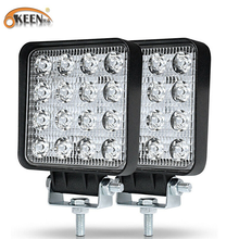 Work-Light Beam Fog-Lighting-Exterior Off-Road-Lamp Square LED OKEEN Jeep Suv/truck 48W