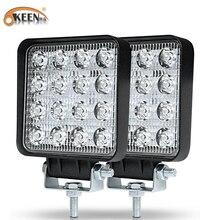 OKEEN 2pcs 48W Work Light 30 Degree LED Car Spot light Beam Square Off-road Lamp Fog Lighting Exterior For Jeep Boat/SUV/Truck