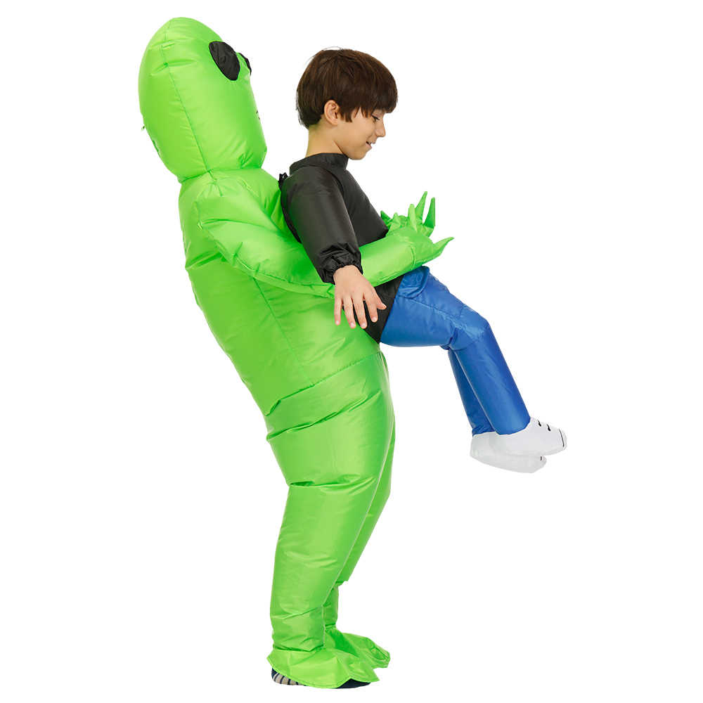 Nova alienígena traje inflável verde alienígena adulto crianças engraçado explodir terno festa fantasia vestido unisex festa cosplay traje de halloween