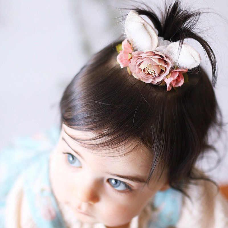 בנות ניילון באני כתר בגימור תינוק פרח סרט שיער אוזני ארנב אוכל קוקו שיער מחזיק יילוד תינוקות סרטי ראש כיסוי ראש