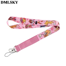 DMLSKY Cardcaptor Sakura Keychain Cartoon Cute Phone Lanyard Women Fashion Strap Neck Lanyards for ID Card Keys M3875